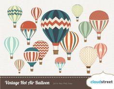 buy 2 get 1 free Vintage Hot Air Balloon clipart by cloudstreetlab, $4.95