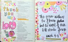 I saw a tutorial this week where someone had cut up a She Blooms scrapbook paper page to make tip-ins. I'd never thought of that!  I washi taped one into my Bible then I watercolored some stamps added stickers and more washi to coordinate the second page.  Praise God that His Word will never fail it will stand forever!!! #illustratedfaith #biblejournaling #biblejournalingcommunity #journalingbible #journalingbiblecommunity  #godsword http://ift.tt/1KAavV3