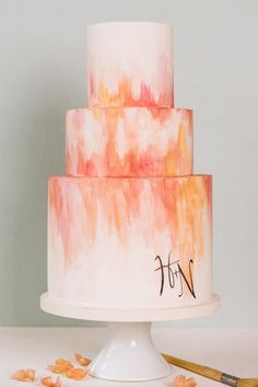 Watercolor Cakes Are the Next Big Wedding Trend via @PureWow - SUMMER SUNSET WEDDING CAKE (=)