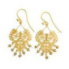 Dream Mullick Gold and Peridot Soft Rain Earrings