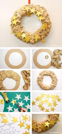 Corona de Navidad de cartón reciclado diy christmas crown