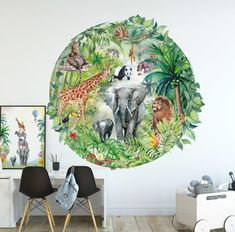 Around the Jungle Sticker XL x m) - Fleur Kuipers - babykamer Boys Jungle Bedroom, Jungle Baby Room, Baby Room Art, Baby Boy Rooms, Baby Room Decor, Safari Room, Safari Jungle, Playroom Wallpaper, Playroom Mural