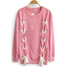 Pink Long Sleeve Ribbon Bow Loose Sweatshirt (300 SEK) ❤ liked on Polyvore featuring tops, hoodies, sweatshirts, sweaters, long sleeves, pink, bow, bowtie, patterned sweatshirt et print pullover