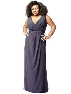 """""""Lovelie"""" Plus Size Bridesmaid Dress 9009: The Dessy Group, shown in """"Stormy"""" Gray www.TheBridesShoppe.com"""