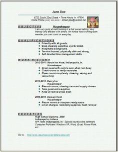 housekeeper resume3. Resume Example. Resume CV Cover Letter