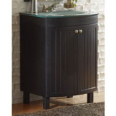 Style Selections�Cavanaugh 24-in x 20-1/2-in Espresso Integral Single Sink Bathroom Vanity with Glass Top