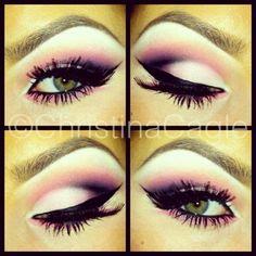 Pink and black eyeshadow makeup by Christina Cagle