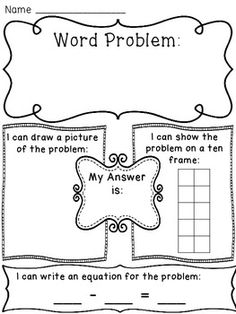 Addition to 10 word problems worksheets to help kids see