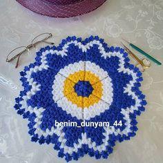 """639 Beğenme, 11 Yorum - Instagram'da benim dünyam_MALATYA (@benim_dunyam_44): """"Buyrun size bir nazar boncuğu ben böyle koyup can arkadaşımın oğlunun söz sandığını hazırlamaya…"""" Loom Blanket, Diy And Crafts, Crochet Earrings, Silk, Knitting, Stuff To Buy, Jewelry, Instagram, Crochet Animals"""