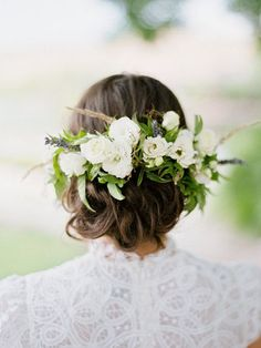 Floral-pinned wedding updo