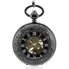 Men's Embossed Pattern All Black Mechanic Skeleton Pocket Watch – USD $ 31.99