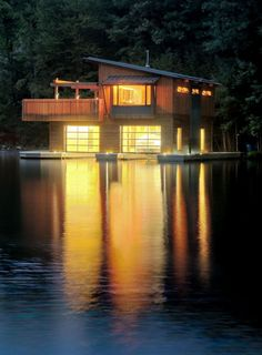 Architecture, Gorgeous Building Design Of Muskoka Boathouse With Soft Brown Wooden Wall And Bright Yellow Lighting From Inside The House: Awesome Modern Boathouse Design Ideas at Muskoka Lakes Architecture Design, Installation Architecture, Floating House, Floating Boat, Interior Exterior, Rustic Design, My House, Boat House, The Great Outdoors