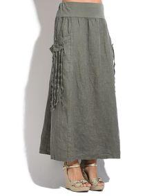 Olive Linen Midi Skirt
