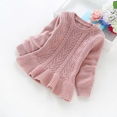 2016 New Winter Children's Clothing Years Girls Solid Color Knitted Sweater Girls Cotton Sweater – Kid Shop Global – Kids & Baby Shop Online – Baby & Kids Clothing, Toys For Baby & Child Baby Sweaters, Girls Sweaters, Winter Sweaters, Knit Sweaters, Pull Bebe, Baby Shop Online, Winter Kids, Sweater Knitting Patterns, Knitting For Kids