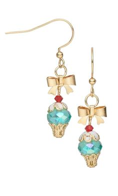 Cupcake Earrings with Czech Fire-Polished Glass Beads, Swarovski® Crystal Beads and Bead Caps Cute idea!