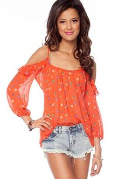 Florette Ruffle Top in Red Orange :: tobi  Fun summer social top!