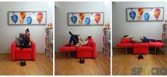Sillón transformable. Cama individual. Diván Organize, Organization, Single Beds, Multifunctional Furniture, Interior Design, Getting Organized, Organisation, Tejidos