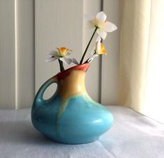 Belgium Art Pottery Vase / Drip Glaze Pottery / Small Vase / 1920s / Turquoise with Orange and Yellow Drip by PlumsandHoney on Etsy