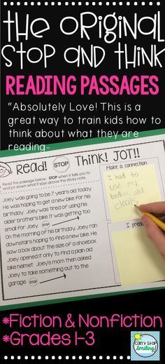 Reading Passages and comprehension questions with Built in Stop, Think and jot to get your studentst to stop and think about what they read. In both fiction and nonfiction for Grades 1-3