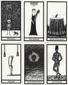 """Cards from Edward Gorey's faux Tarot """"The Fantod Pack""""."""
