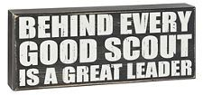 """Popular, quote-style design honors the magnitude of a leader's service in one bold statement and reads: """"Behind every good Scout is a great leader"""". Black wood-like sign features distressed background and text for a """"vintage"""" appearance. Silhouette Projects, Silhouette Design, Cub Scouts, Girl Scouts, Eagle Scout Gifts, Eagle Scout Ceremony, Wood Badge, Presents For Teachers, Scout Activities"""