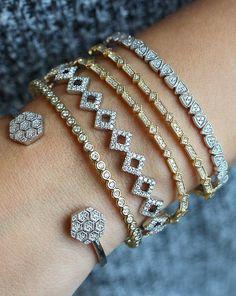 Mix and match your bracelet stack with our dainty cuffs! #diamonds #bracelets #danarebecca