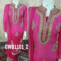 Pure silk suit with kundan work