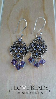 Sterling Swarovski earrings- purple Swarovski earrings-Swarovski chandelier earrings- chandelier earrings- Purple and silver earrings