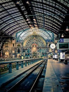 Central station, Antwerp, Belgium  Antwerp's 'Railway Cathedral' has its domed roof, iron and glass vaulted ceilings and lavishly decorated stone and marble interiors to thank for its landmark status – definitely fancier than your average interchange. Not only that but the station complex houses three levels of tracks, a shopping mall and a diamond gallery home to some 30 diamond shops.