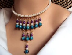 Turquoise white and purple choker necklace  blue by NezDesigns, $15.00
