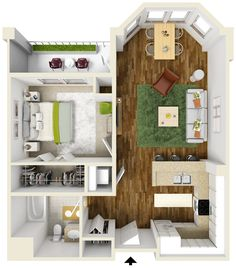 20 One Bedroom Apartment Plans For Singles And Couples In 2018 | Garage  House | Pinterest | Bedroom Apartment, Apartments And Couples