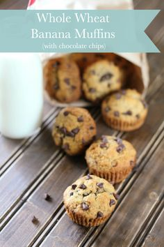 Super simple and delicious whole wheat banana muffins with chocolate chips.  They're perfect for breakfast or snack time!