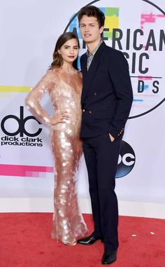 Violetta Komyshan & Ansel Elgort: 2017 American Music Awards: Red Carpet Fashion