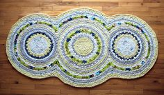 Triple Disc Apple Green and Lemon Yellow Crocheted Rag Rug. $238.00, via Etsy. I really like the colors in this rug!