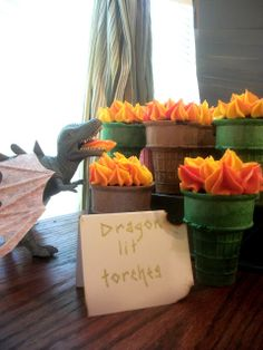 Party Food: Dragon Lit Cupcake Torches (cupcakes baked in ice cream cones with flame frosting)