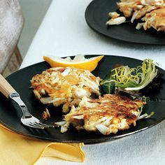 Crab Cakes Recipe Lunch and Snacks, Appetizers with white sandwich bread, lump crab meat, mayonnaise, worcestershire sauce, large eggs, unsalted butter, lemon wedge