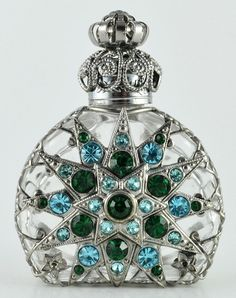 Vintage Vanity Perfume Bottle Silver Tone Filigree Clear Glass Green Crystal