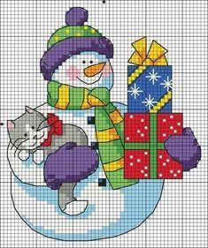 cross stitch Snowman cat Christmas