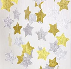 Fecedy Gold Silver Sparkling Star Garland Bunting for Baby shower,Wedding Party 13 feet Star Banner, Star Garland, Star Decorations, Birthday Party Decorations, Sparkling Stars, Fourth Birthday, Star Baby Showers, Star Party, Paper Stars
