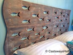 A personal favorite from my Etsy shop https://www.etsy.com/ca/listing/462747805/wood-school-of-fish-art-headboard-queen