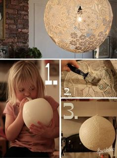Glue lace on balloon-let dry-then pop balloon-the lace will stay in the shape of the balloon