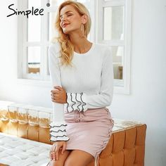 a15a220746 Simplee Knitted ruffles sweater women Sexy butterfly sleeve pullover female  2018 Autumn winter casual party femme jumper