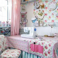 Craft room with pretty floral furnishings