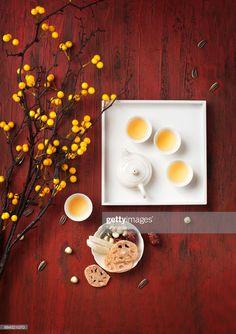 ストックフォト : Flat lay Chinese new year food and drink still life. Indian Food Menu, Indian Food Recipes, Asian Recipes, Chinese New Year Food, Chinese Tea, Bra Image, Food Icons, Moon Cake, Tea Ceremony