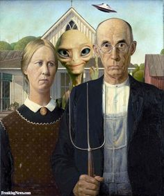 Alien in American Gothic Painting