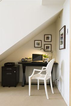 office nook under stairs