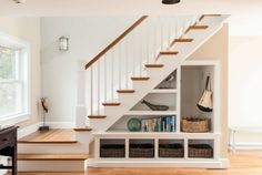 17 Under Stairs Storage Ideas For Small Spaces One of my favorite features of their home is a grand staircase right past the front door that has some awkward storage space underneath.Hasil gambar untuk Under Stair Storage Ideas Staircase Storage, Staircase Design, Under Stair Storage, Stair Design, Entryway Storage, Basement Stairs, House Stairs, Basement Flat, Redo Stairs
