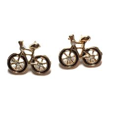 Bicycle Earrings Black And Gold *