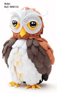 Buho - Revista Manos Maravillosas Fofuchas 6 Owl Crafts, Cute Crafts, Diy And Crafts, Arts And Crafts, Paper Crafts, Plastic Bottle Crafts, Plastic Art, Handmade Toys, Handmade Crafts