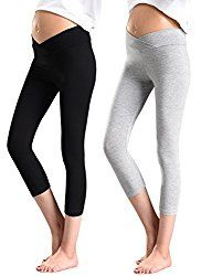 78d2c690537dd pregnancy workout - Foucome 2 Pack Womens Under the Belly Super Soft  Support Maternity Leggings CapriBlack Gray -- For more information, go to  picture web ...